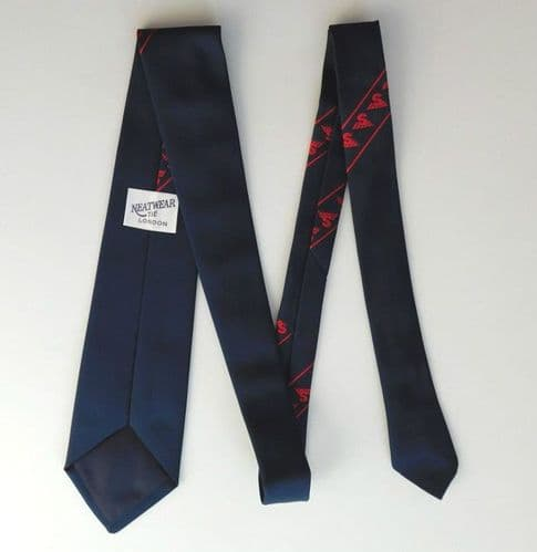 Vintage tie Red corporate emblem initial letter S with wings company logo badge